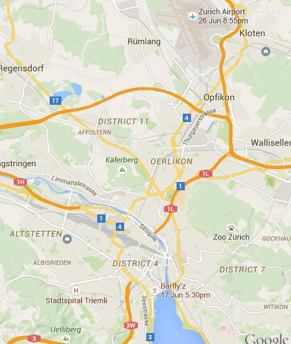 Kloten a jobb felső sarokban, Opfikon mellette, Altstetten a bal alsó sarokban, Zürich alul.